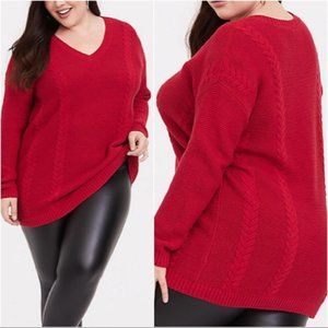 Torrid Red Cable Knit V-Neck Tunic Sweater Size 1X